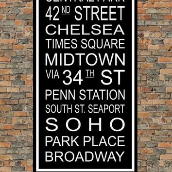 New York City Subway Sign Print - Central Park, Broadway, Penn Station, Midtown, Soho, Times Square