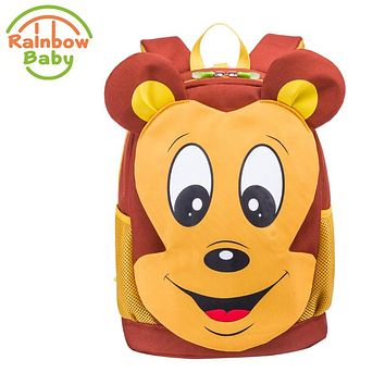 Rainbow Baby Cartoon Mouse Kids Baby Bag Waterproof Ultra-Light Anti-lost Rope Child's Snack bag Boys Girls School Backpack Bags