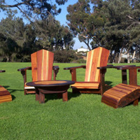 Outdoor Redwood Adirondack Patio Set Lawn Furniture with Chairs, Tables & Ottoman