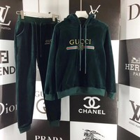 Gucci Top Sweater Pullover Pants Trousers Set Two-Piece Sportswear Dark green