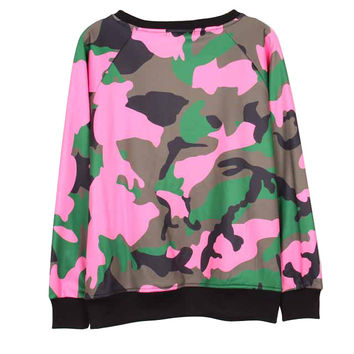 Womens Sweatshirts Brand camouflage Pullover Sport Crewneck costume Hoodies