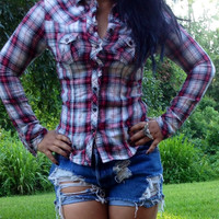 Red Plaid Long Sleeve Button Up Top by AdoreLife on Etsy