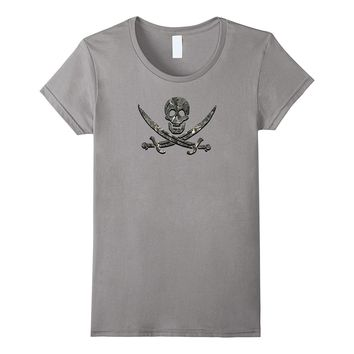 Skull and Crossbones Pirate Pattern Design T Shirt