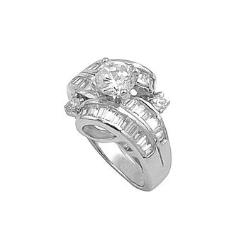 925 Sterling Silver CZ Baguette Surrounded Round Ring 15MM