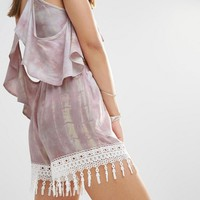 Young Bohemians High Waist Tie Dye Shorts With Tassel Fringing at asos.com