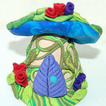 OOAK Fairy House, Fairy Home, Fairy Art, Enchantment Miniature Magical Mushroom Fairy Home 2 Inch