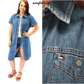 denim duster dress / M / 7 / 9 / 90s / Tommy Hilfiger short sleeve denim duster / boho jean dress / snap front denim dress SunnyBohoVintage