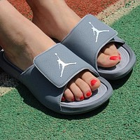 Jordan Popular Women Simple Print Sandal Slipper Shoes Grey I