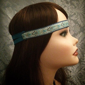 Native American Style Blue Art Deco Decorative Flapper Headband Hippie Boho Festival Piece Head Band hair piece Pow wow Indian America