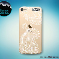 Henna Art White Flowers Outline Clear Rubber See-Through Transparent Case for iPod Touch 6th Gen or iPod Touch 5th Gen