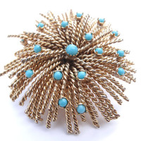 Vintage Floral Brooch Turquoise Stones Circa 1950s / 1960s Mid-Century