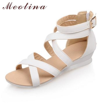 Meotina Rome Shoes Women Sandals Summer Peep Toe Gladiator Low Heel Wedges Female Cheap Zip Solid Cutout White Shoes Size 34-39