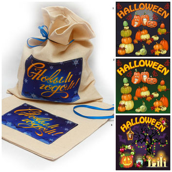 "Bag for Halloween parties for treats and gifts. Sizes bags - 9,8"" x 11,8"". Halloween favor bags Party bags Halloween party bags custom bag"