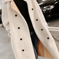 New White Double Breasted Turndown Collar Long Sleeve Going out Coat