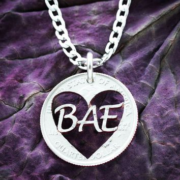 Bae Heart State Quarter Necklace, Long Distance Relationship Jewelry