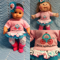 "15 inch Baby Doll Clothes ""Once Upon a Time"" doll outfit Will fit Bitty Baby® Bitty Twins®  dress leggings socks headband A-81"