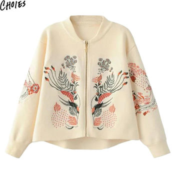 Women 4 Colors Floral Embroidery Long Sleeve Brief Knitted Sweater Zip Up Cardigan 2016 Fall New Ethnic Elegant Casual Knitwear