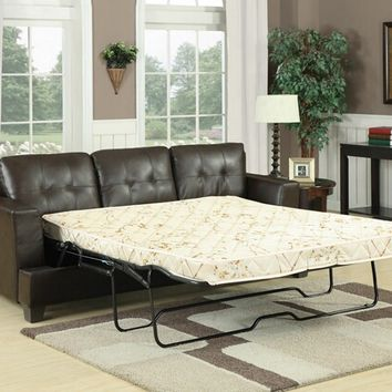Diamond brown bonded leather match upholstered pull out sleeper sofa with queen pull out mattress