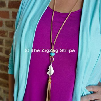 Leather Feather Tassel Necklace