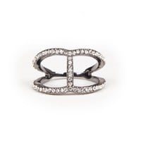 Sole Society Cutout Delicate Crystal Ring
