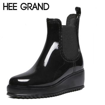 Women's Rainning Shoes Rainny Rubber Boots Women's Wedges Heel Rainboots Height Increa