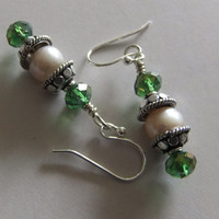 Pearls and Green Crystal Earrings