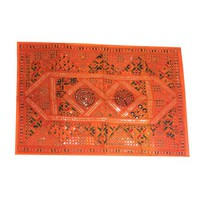 Mogul Bohemian Geometric Banjara Tribal Mirrors Embroidered Artisan Vintage Orange Patchwork Sari Tapestry Wall Hanging - Walmart.com