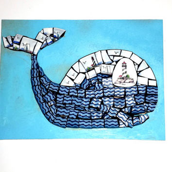 Nautical Whale Mosaic Art. Beach House Wall Decor. Mixed Media China Plate Artwork.