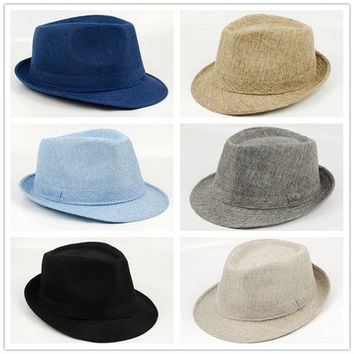 Fashion Summer Beach Hat Sun Jazz  Men Women Unisex Adult Linen Hat [9305831303]