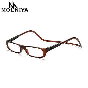 MOLNIYA  Upgraded Unisex Magnet Reading Glasses Men Women Colorful Adjustable Hanging Neck Magnetic Front presbyopic glasses