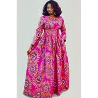 AKU African Print Long Sleeve Maxi Dress