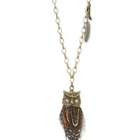 Feathered Owl Long-Strand Necklace