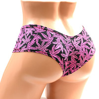 Neon Pink Pot Leaf Print Ultra Cheeky Booty Shorts