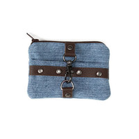 Small Womens Wallet, Denim, Rivets and Leather, Free Shipping