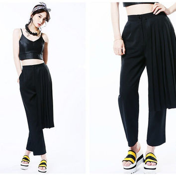 women black pants,crop length,with pleated wrap,unique,high fashion,minimalist,chic.--E0387