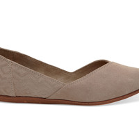 DESERT TAUPE SUEDE DIAMOND EMBOSSED WOMEN'S JUTTI FLATS