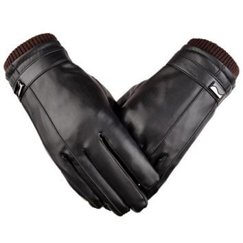 Men's leather gloves winter warm touch screen leather screw gloves riding waterproof and windproof Korean version plus velvet