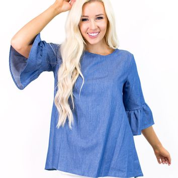 Desiree Chambray Bell Sleeve Blouse