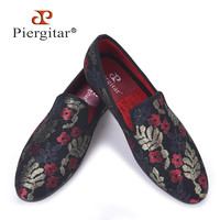 New sequined cloth printing men shoes Luxury and Fashion three color flower men men's flats