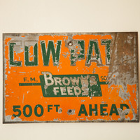Antique Cow Path Metal Sign Browns Feeds