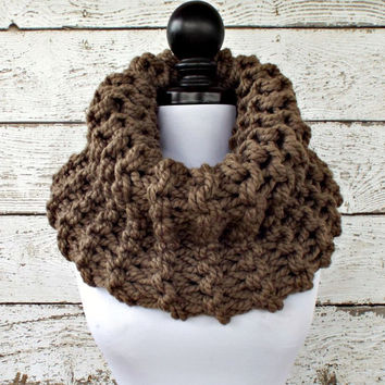 Womens Oversized Circle Scarf Chunky Scarf Highlands Taupe Brown Cowl - Womens Accessories Fall Fashion Winter Scarf