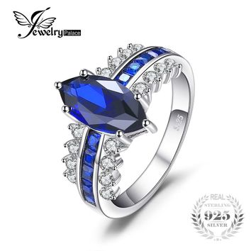 JewelryPalace Luxry 3.4ct Marquise Created Sapphire Square Created Blue Spinel Statement Ring 925 Sterling Silver hot selling
