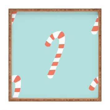 Happee Monkee Merry and Bright Candy Canes Square Tray