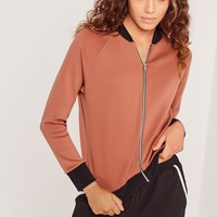 Missguided - Petite Scuba Bomber Jacket Brown