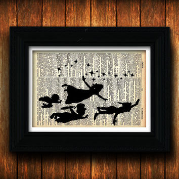 Peter Pan Silhouette Vintage Dictionary Page - Flying With Fairy Dust - Fairy Tale Nursery Decor - Peter And Wendy Never Grow Up - Nursery