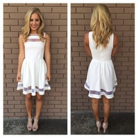 White Sheer Skater Sleevelss Dress