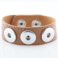 Extra Large Size Light Brown Textured Grain Soft Leather Snap Chunk Bracelet - 26cm
