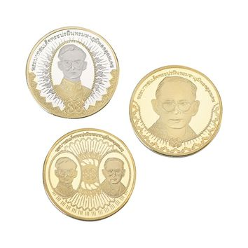 WR Customized Thailand King Bhumibol Adulyadej Challenge Coin Gold Plated Coin 3pcs Gold and Silver Coin Rare Souvenir for Gifts