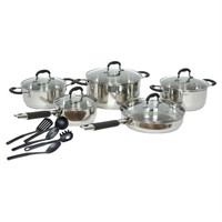 15 Piece Stainless Steel Cookware Set With Nylon Utensils