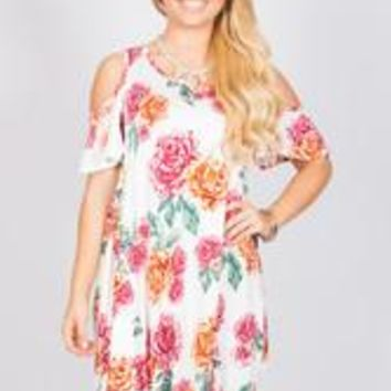 Floral Open Shoulder Tunic - Ivory - S
